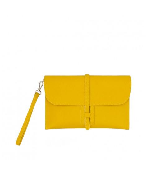 Pochette Luxiente da donna in vera pelle di colore giallo - 7438632578940