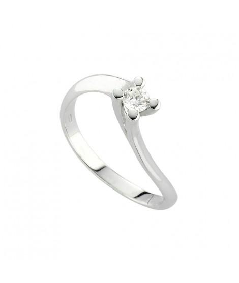 Anello Solitario in oro bianco con diamanti 8143