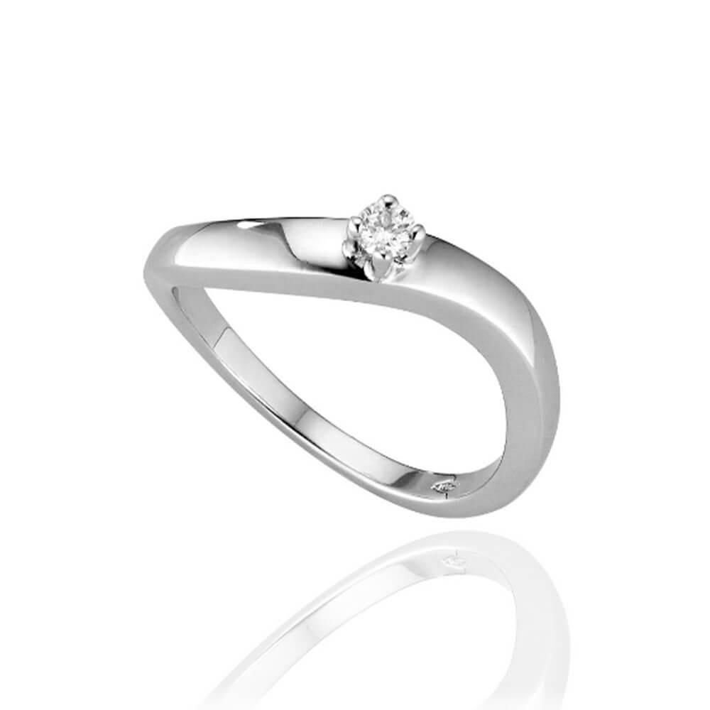 Anello Solitario in oro bianco con diamanti 8108