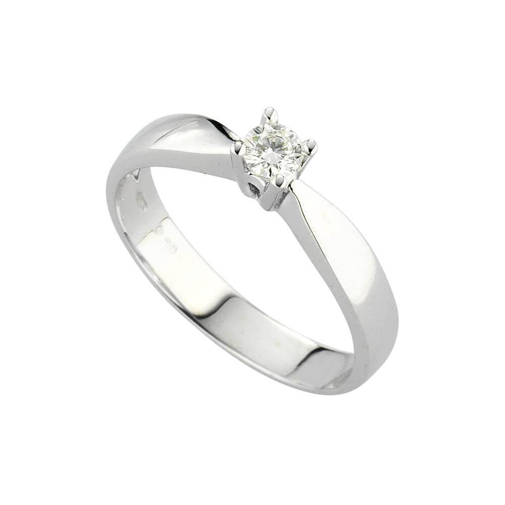 Anello Solitario in oro bianco con diamanti 8144