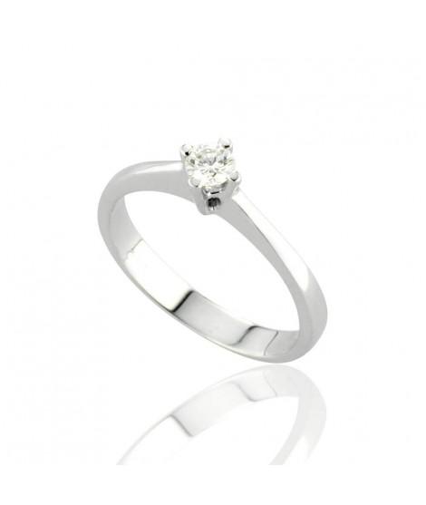 Anello Solitario in oro bianco con diamanti 8154