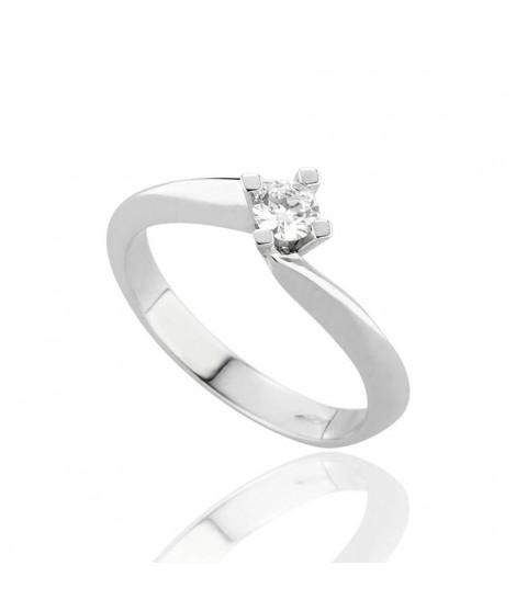 Anello Solitario in oro bianco con diamanti 8159