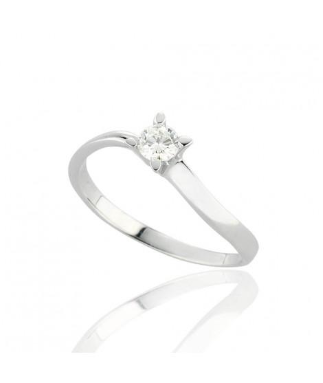 Anello Solitario in oro bianco con diamanti 8160