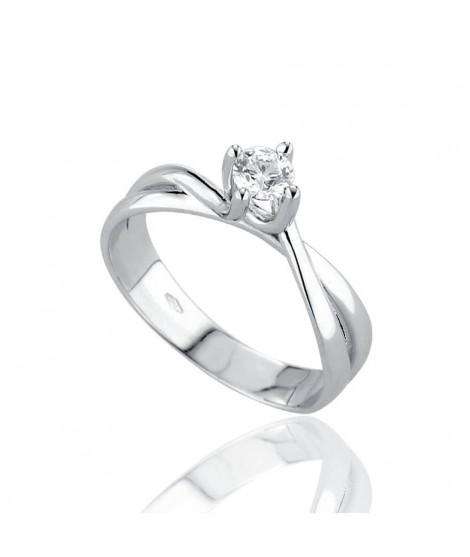 Anello Solitario in oro bianco con diamanti 8153