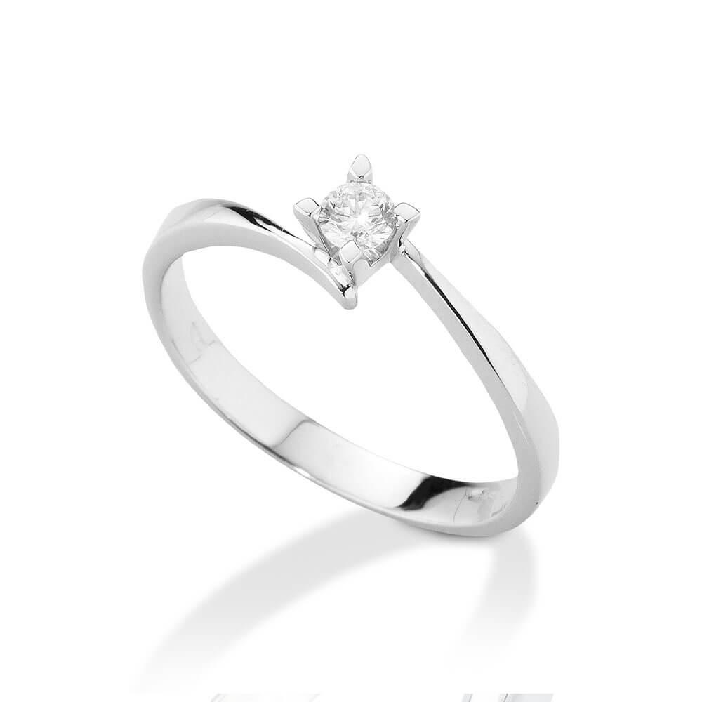 Anello Solitario in oro bianco con diamanti ANS105