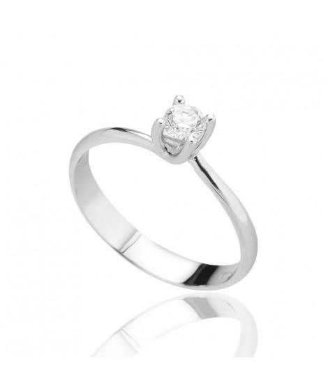 Anello Solitario in oro bianco con diamanti ANS01