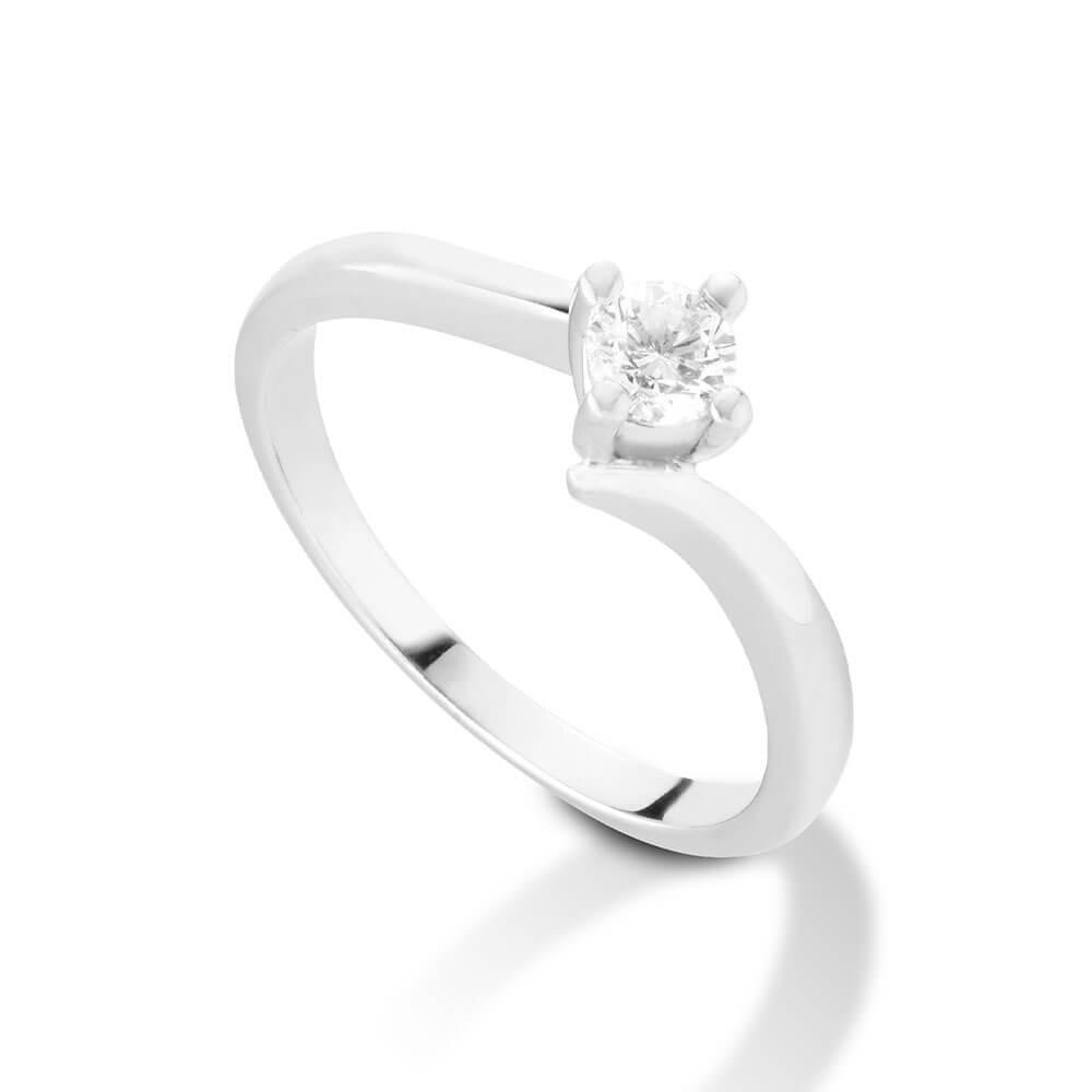 Anello Solitario in oro bianco con diamanti 8102