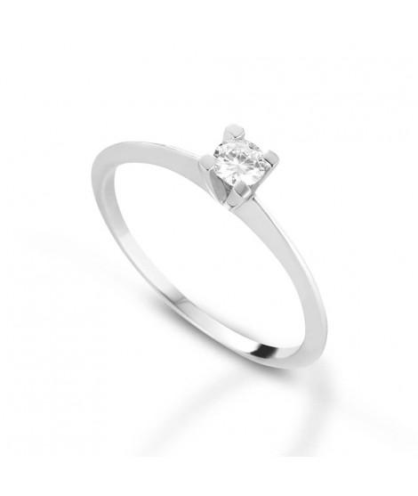 Anello Solitario in oro bianco con diamanti ANS103