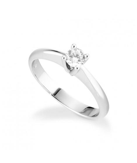 Anello Solitario in oro bianco con diamanti ANS176