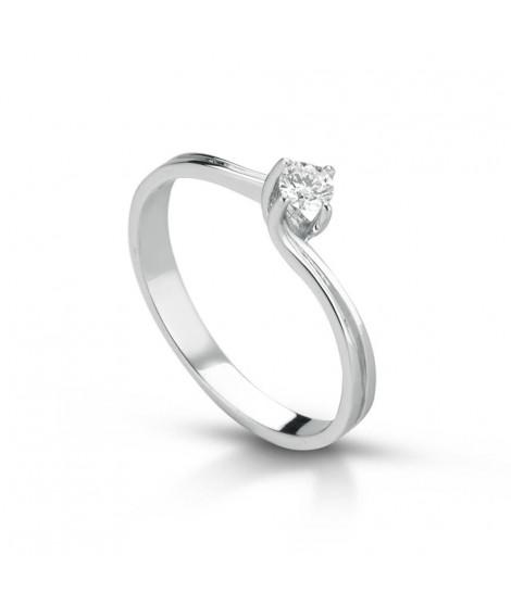 Anello Solitario in oro bianco con diamanti ANSOL5