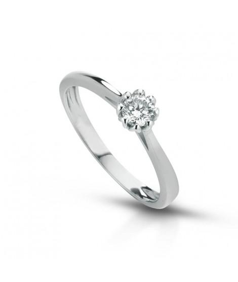 Anello Solitario in oro bianco con diamanti ANSOL7