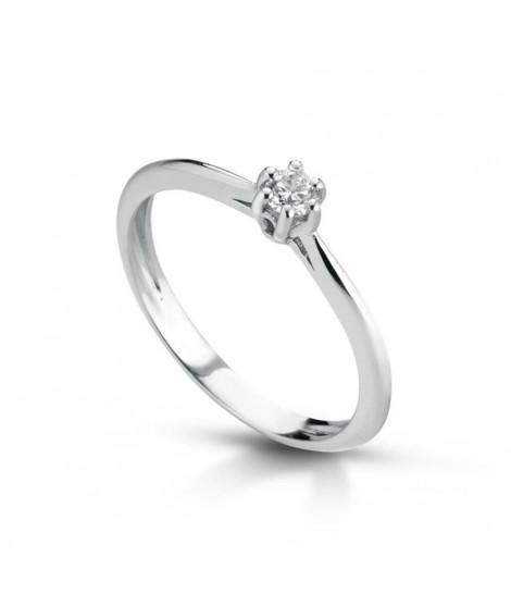Anello Solitario in oro bianco con diamanti ANSOL8