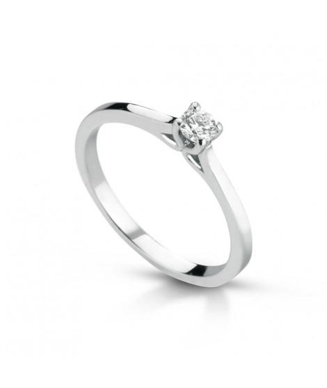 Anello Solitario in oro bianco con diamanti ANSOL9