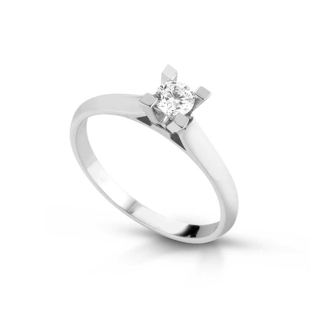 Anello Solitario in oro bianco con diamanti ANSOL51