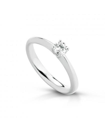 Anello Solitario in oro bianco con diamanti ANSOL52