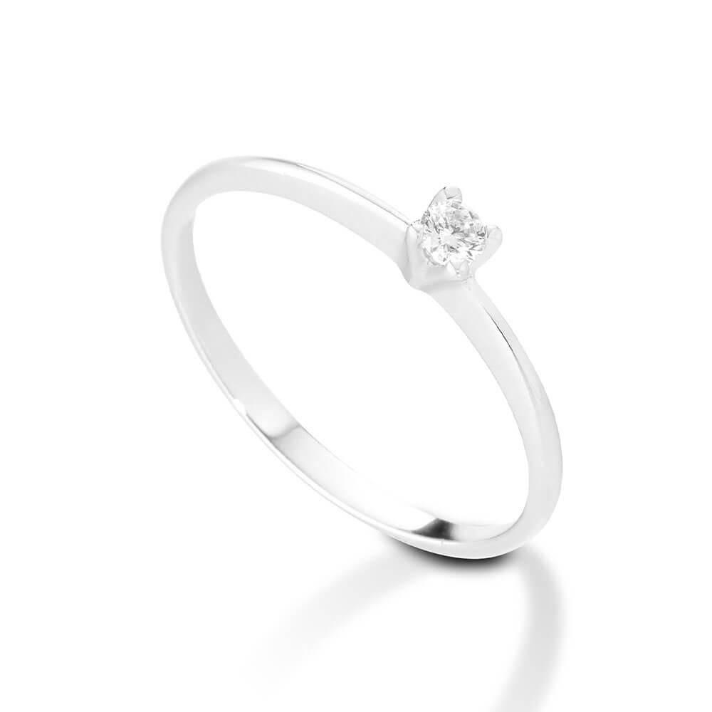 Anello Solitario in oro bianco con diamanti 8114