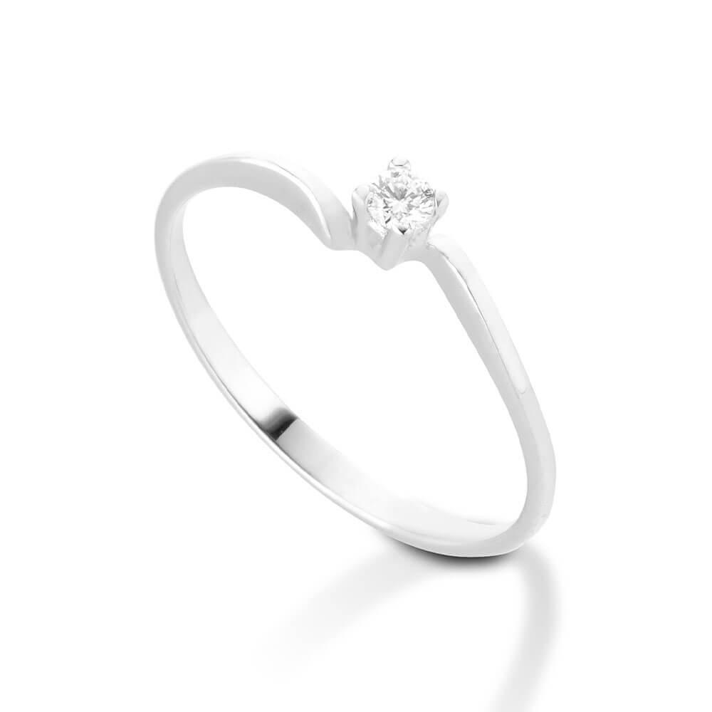 Anello Solitario in oro bianco con diamanti 8111
