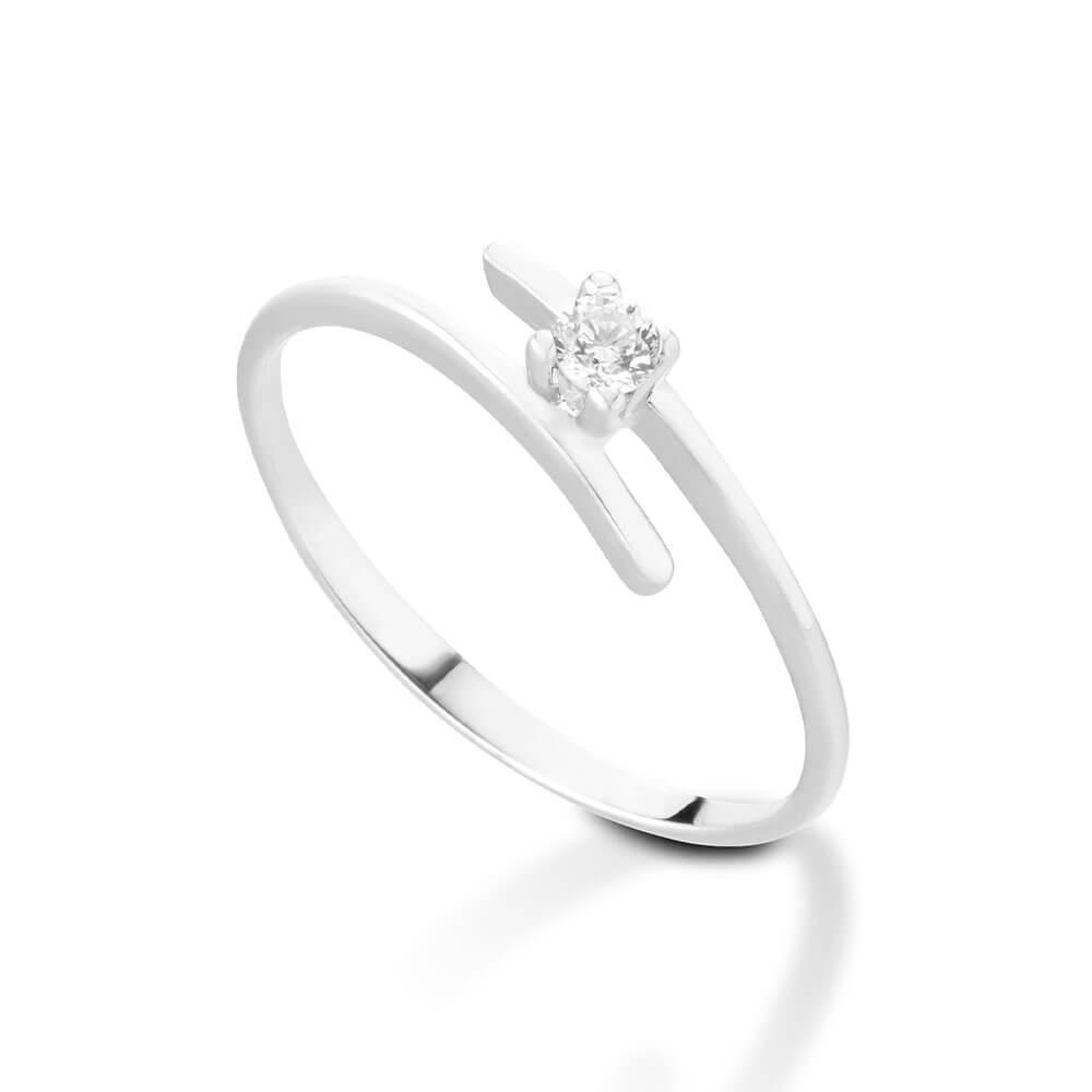 Anello Solitario in oro bianco con diamanti 8117