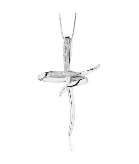 Croce Stilizzata da donna in oro bianco 18 k e diamanti CRD155