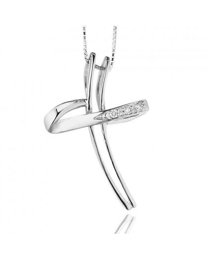 Croce Stilizzata da donna in oro bianco 18 k e diamanti 1110