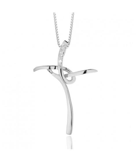 Croce Stilizzata da donna in oro bianco 18 k e diamanti CRD162