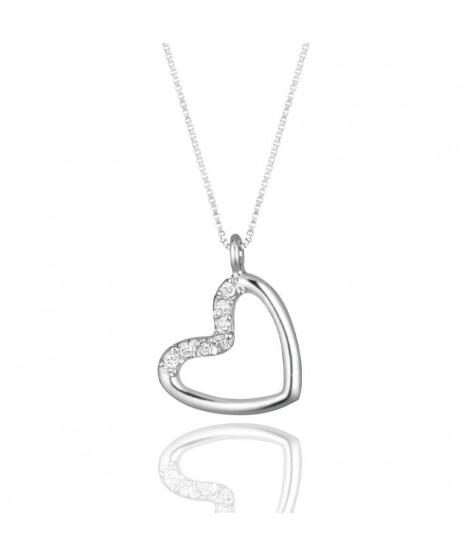 Ciondolo cuore in oro bianco 18 k e diamanti CUORE35
