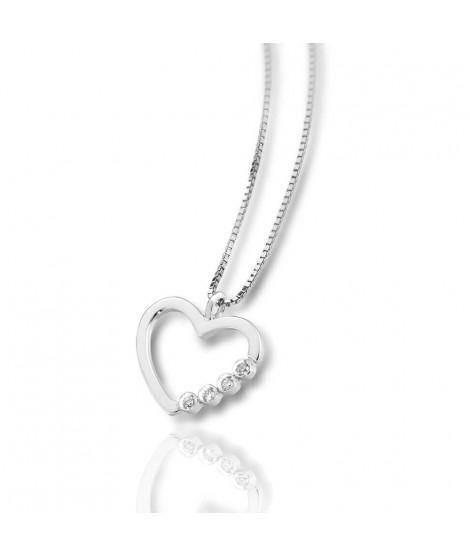 Ciondolo cuore in oro bianco 18 k e diamanti CUO001