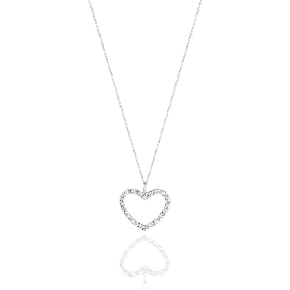 Ciondolo cuore in oro bianco 18 k e diamanti CUO007