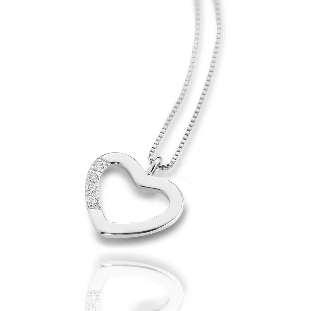 Ciondolo cuore in oro bianco 18 k e diamanti CUO004