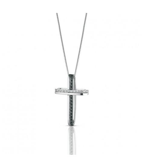 Croce Stilizzata da donna in oro bianco 18 k e diamanti CROCE9BN