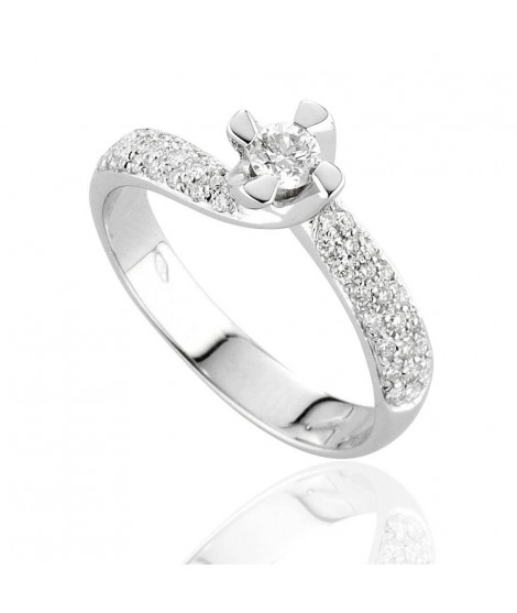 Anello Solitario in oro bianco 18k con diamanti - 8149