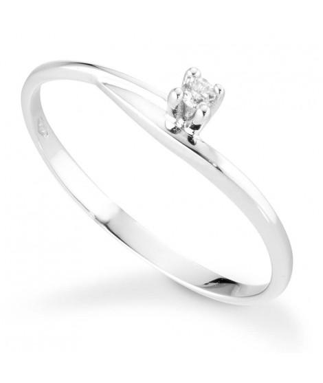Anello Solitario in oro bianco 18k con diamanti - 8130