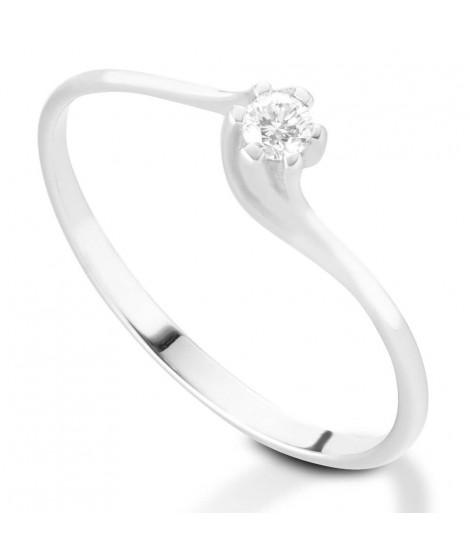 Anello Solitario in oro bianco 18k e diamanti - 8121