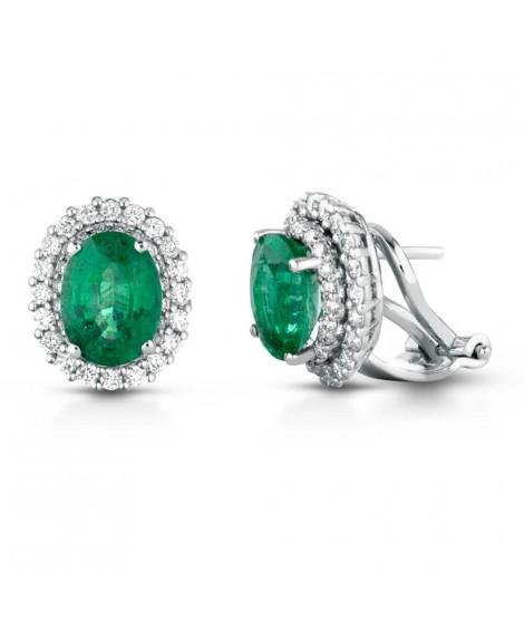 Orecchini in oro bianco 18k, pavè di diamanti e smeraldo ORSYDNEYO