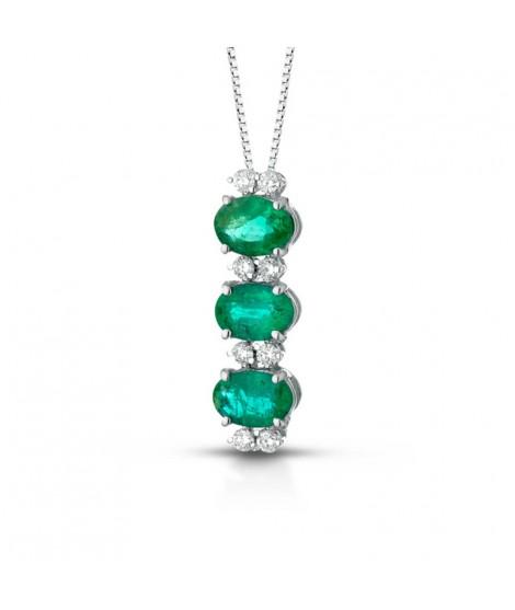 Ciondolo in oro bianco 18k con diamanti e smeraldi CIOGEMMAS