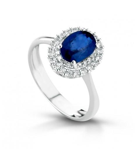 Anello in oro bianco 18k con diamanti e zaffiro blu ANSYDNEYO/Z