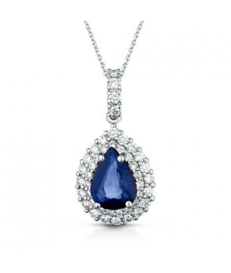 Collana con ciondolo in oro bianco 18k con diamanti e Zaffiro CIOSYDNEYGZ