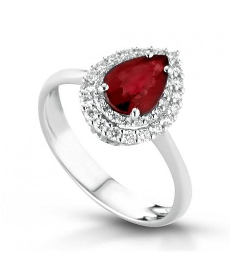 Anello in oro bianco 18 k con diamanti e Rubino ANSYDNEYGR