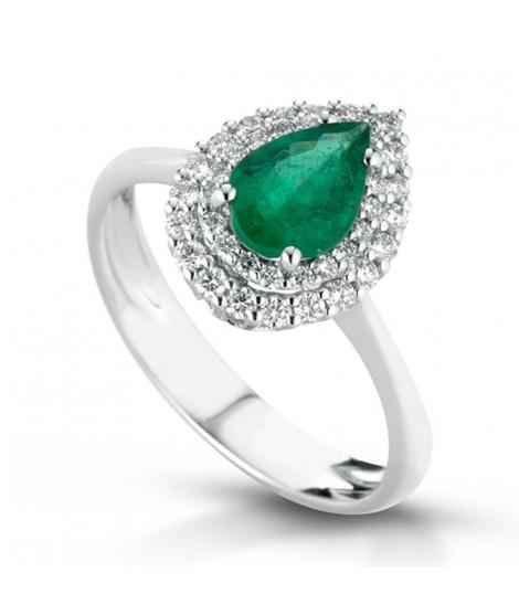 Anello in oro bianco 18 k con diamanti e Smeraldo ANSYDNEYGS