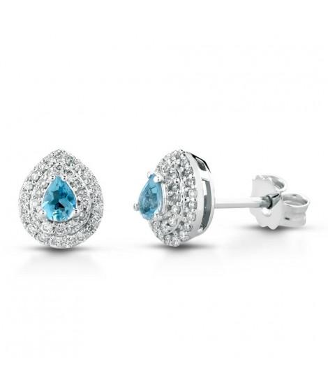 Orecchini in oro bianco 18 k con diamanti e Acquamarina ORMAMBOGA