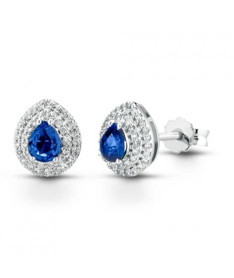 Orecchini in oro bianco 18 k con diamanti e Zaffiro ORMAMBOGZ