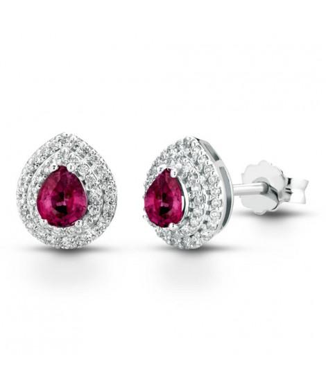 Orecchini in oro bianco 18 k con diamanti e Rubino ORMAMBOGR