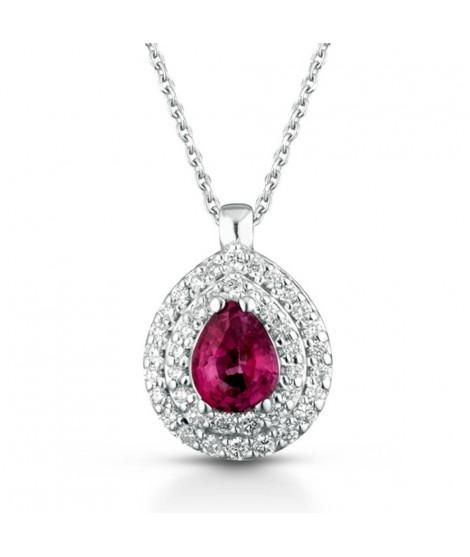 Collana con ciondolo in oro bianco 18 k con diamanti e Rubino CIOMAMBOGR